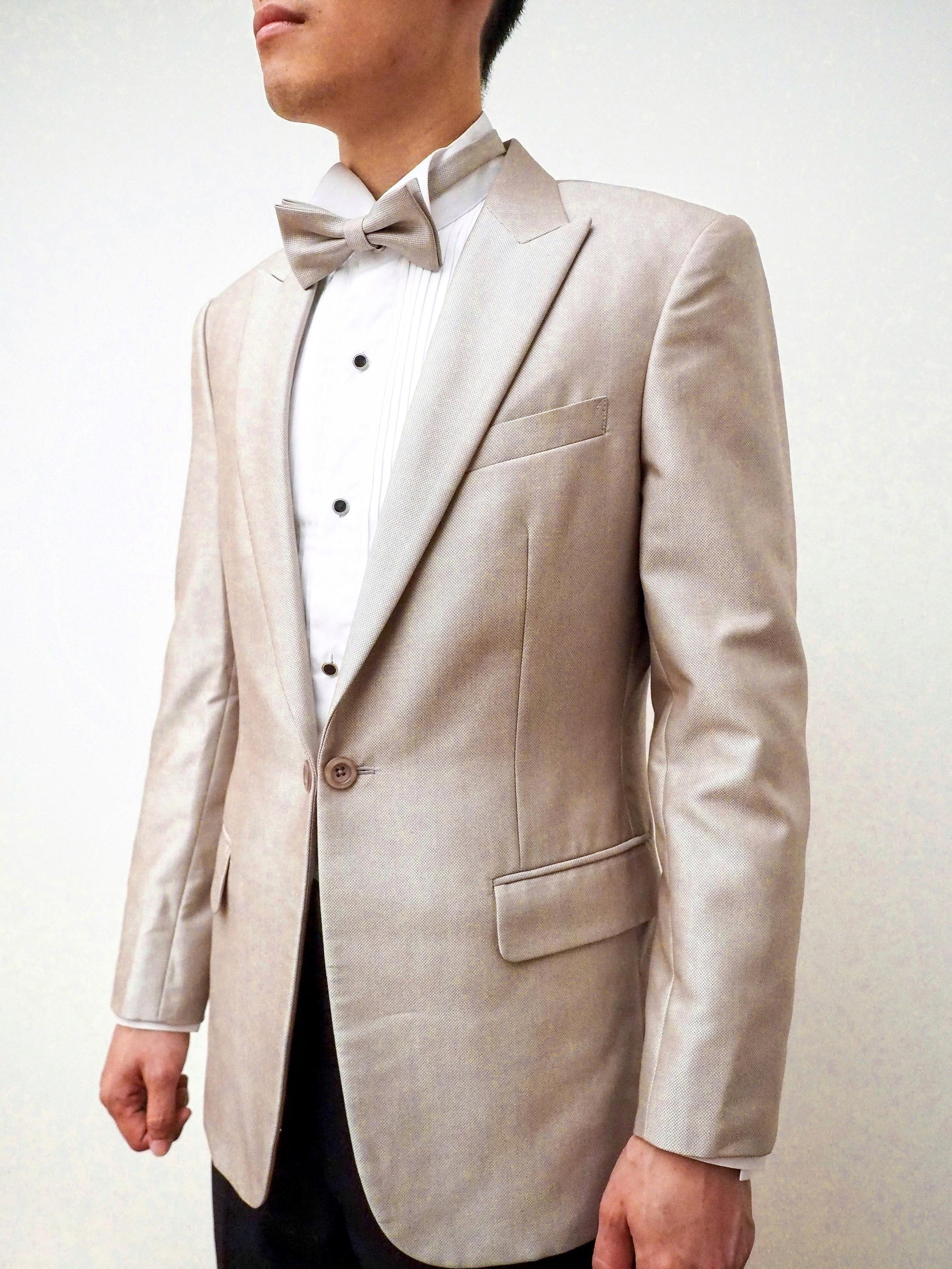 Champagne colour suit by CCM Wedding