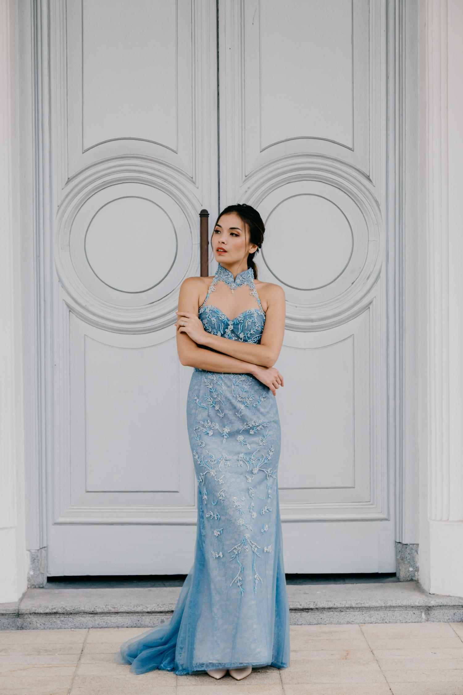 Light blue cheongsam by CCM Wedding