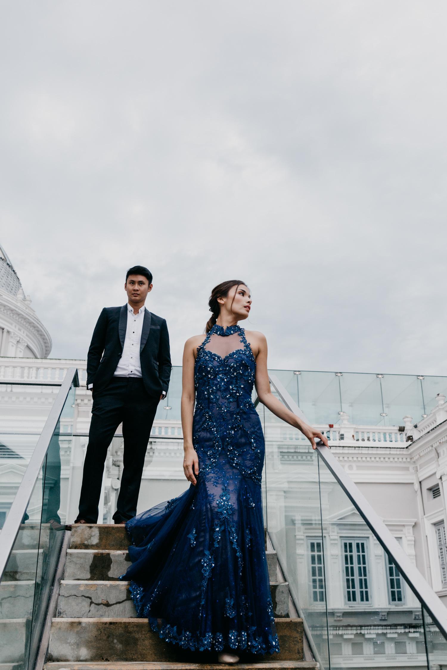 Dark blue cheongsam by CCM Wedding