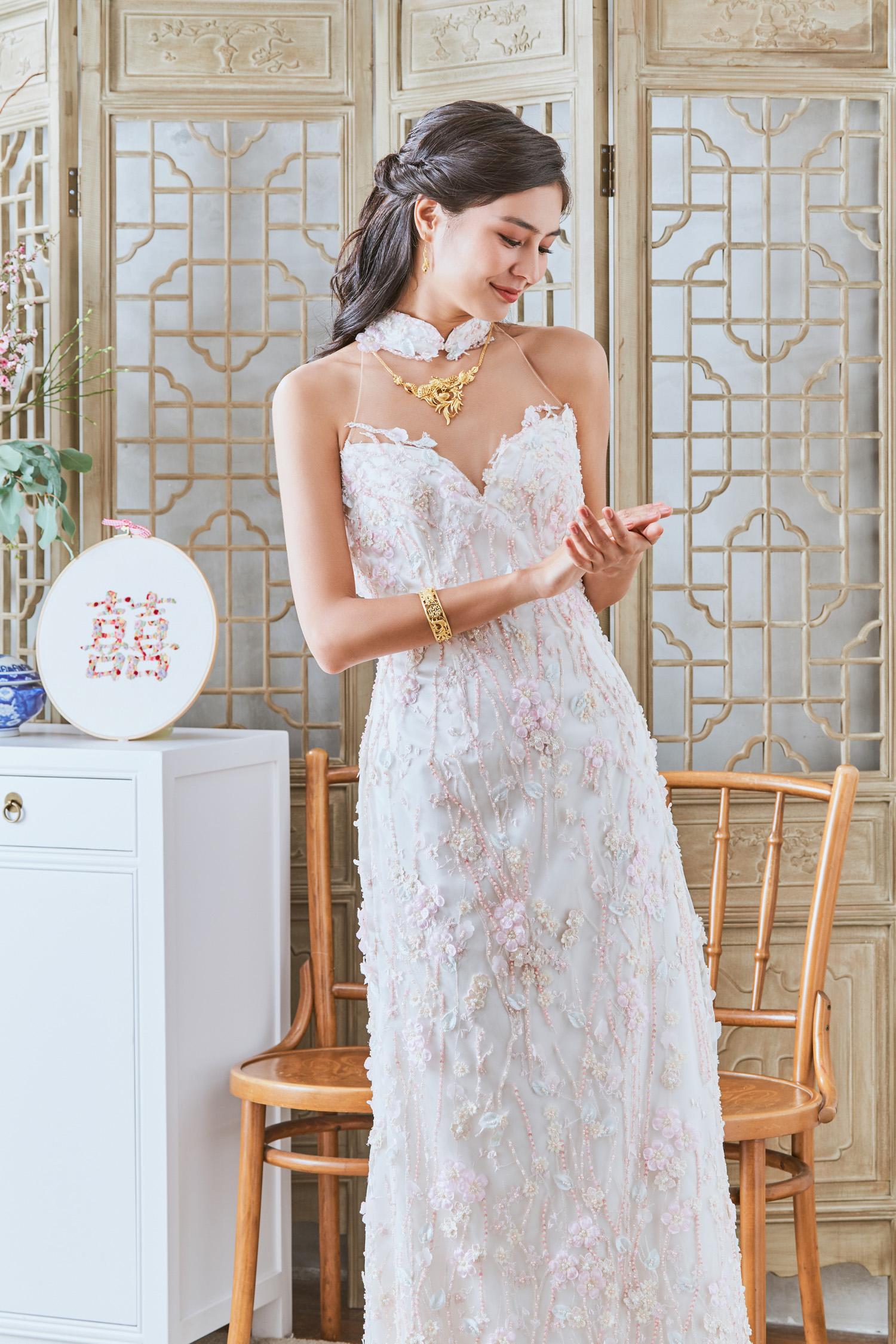 Pink cheongsam by CCM Wedding
