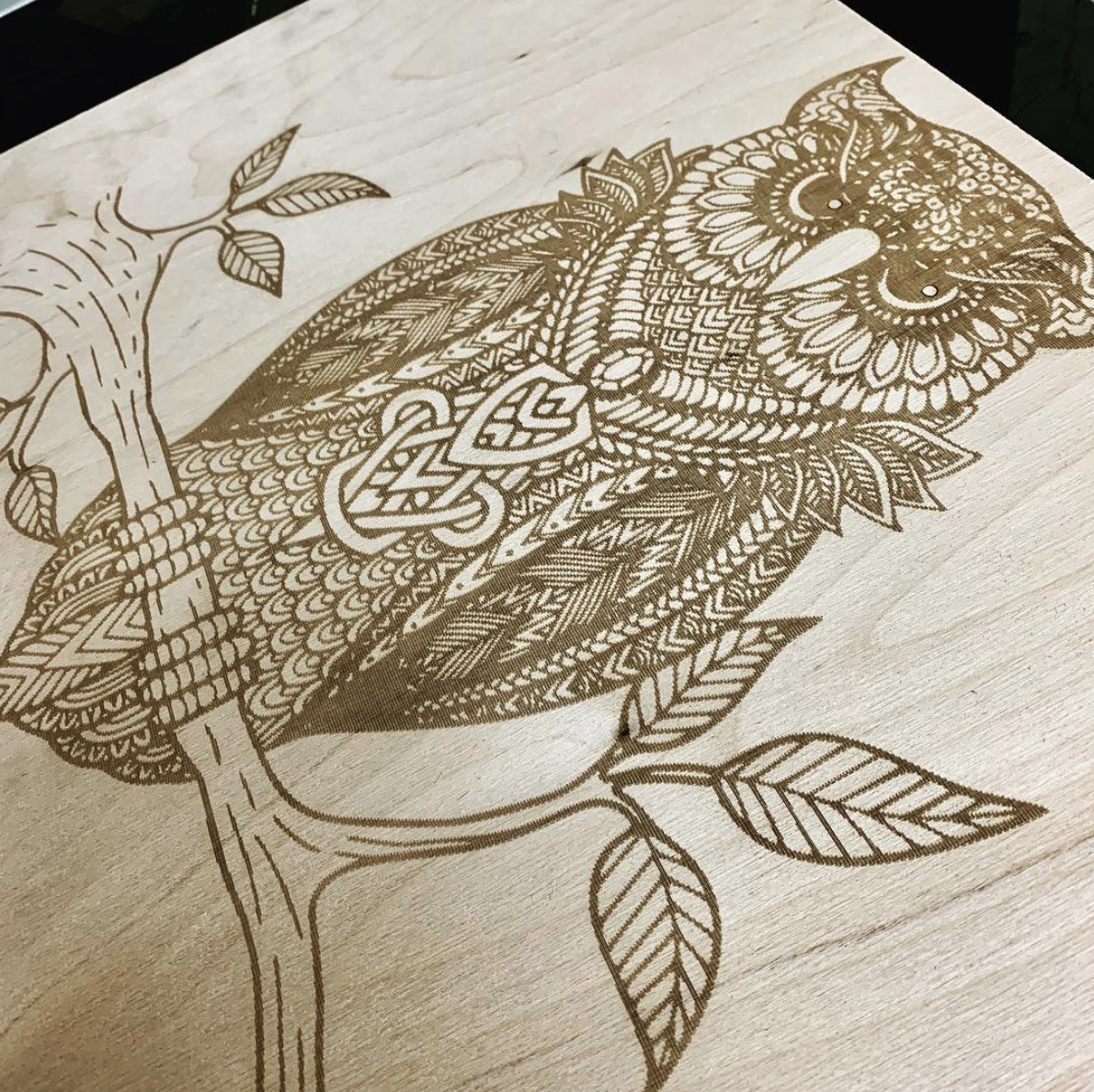 Laser engraving example on wood.