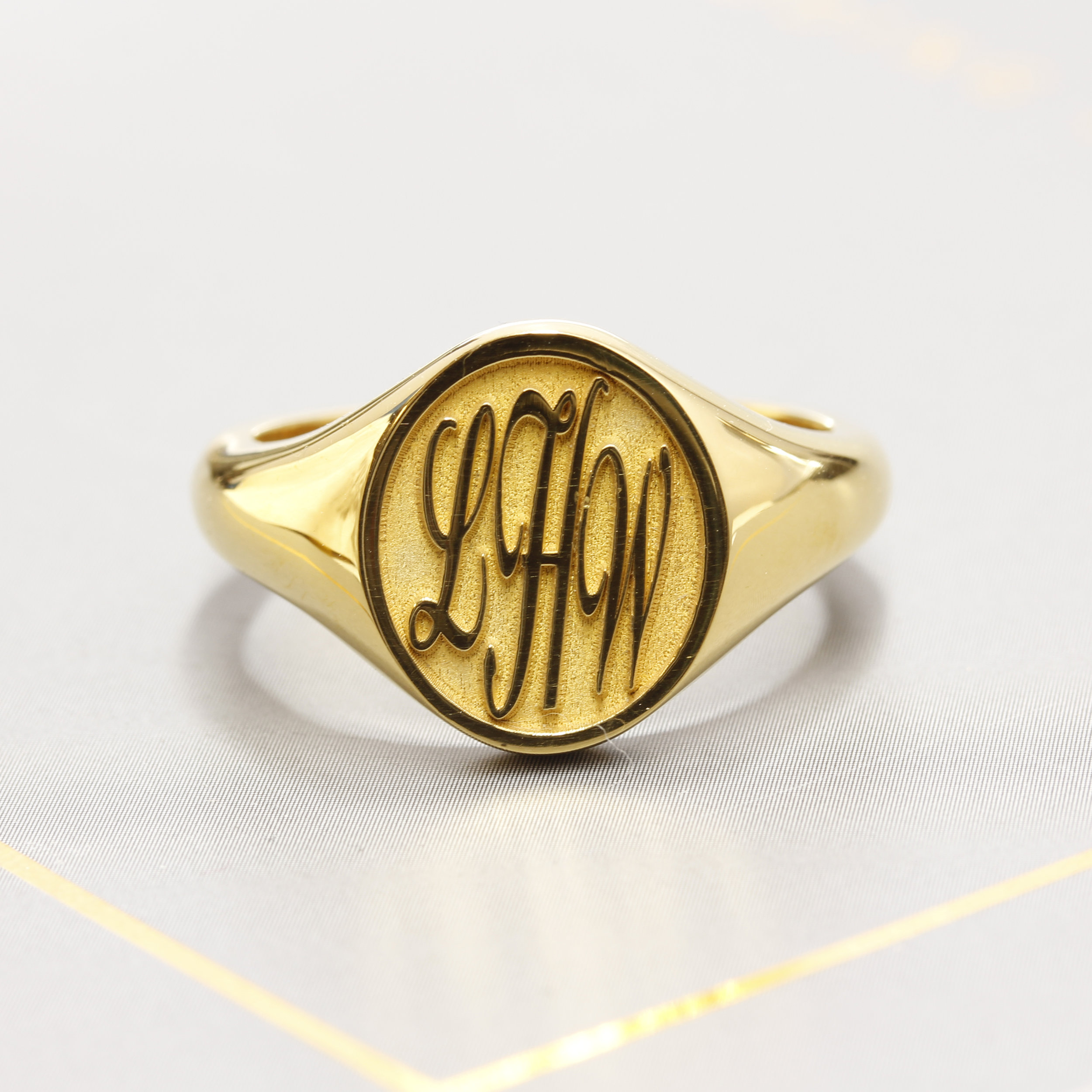 Engraved Signet Ring, Hatton Garden. Handcrafted & design in Laser Engraving Service's studio, in London's historic jewellery district. Hatton Garden.