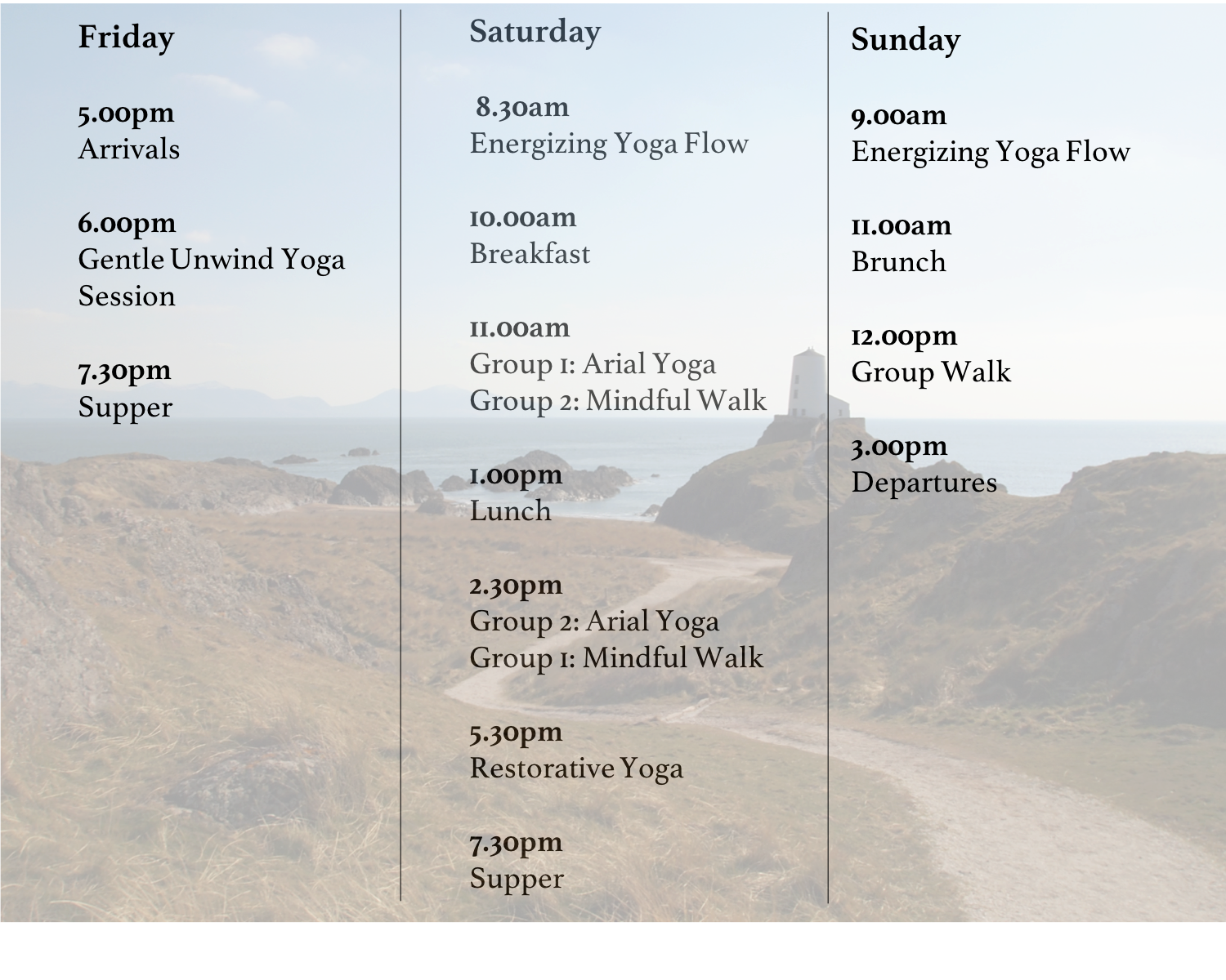 *this itinerary is subject to time changes and participation in activities is always optional!