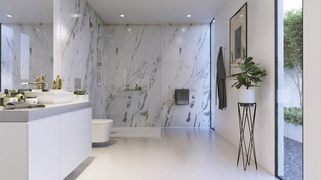 LIGHTING MARBLE BY SHOWER WALL
