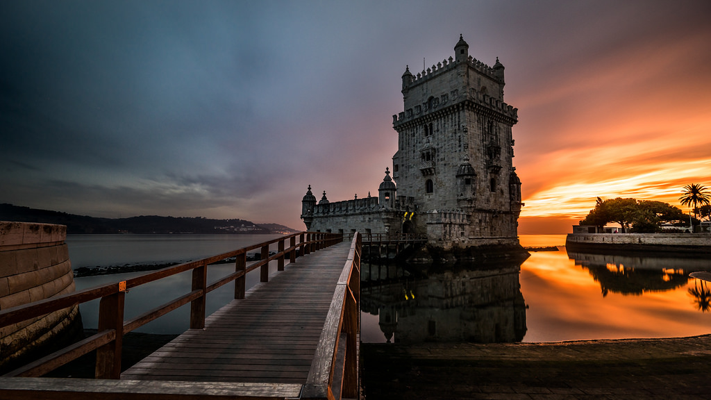 Torre de Belém is a landmark of the area, and a sunset close to it is unforgettable