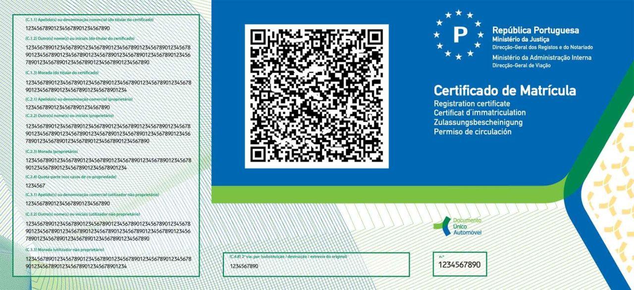 This is the Portuguse car documentation (V5) called documento único automóvel DUA