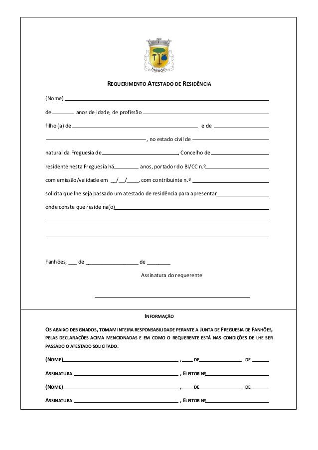 Voici un exemple de formulaire de demande d'attestation de résidence au Portugal