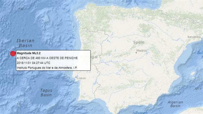 Location of magnitude 5.2 earthquake