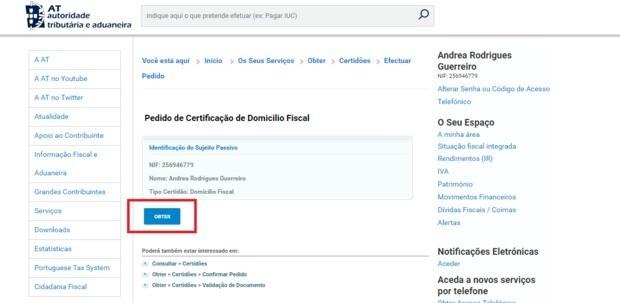 justificatif de domicile portugal financas fisc