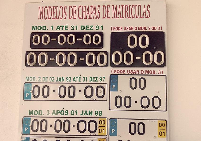 Voici les différents modèles de plaques d'immatriculation au Portugal