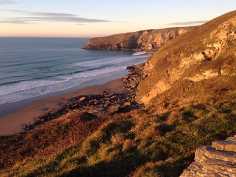 The nearby sandy beach at Trebarwith Strand