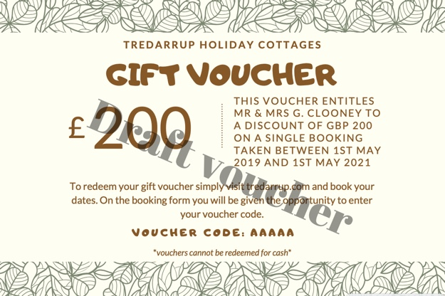 Sample holiday cottage gift voucher