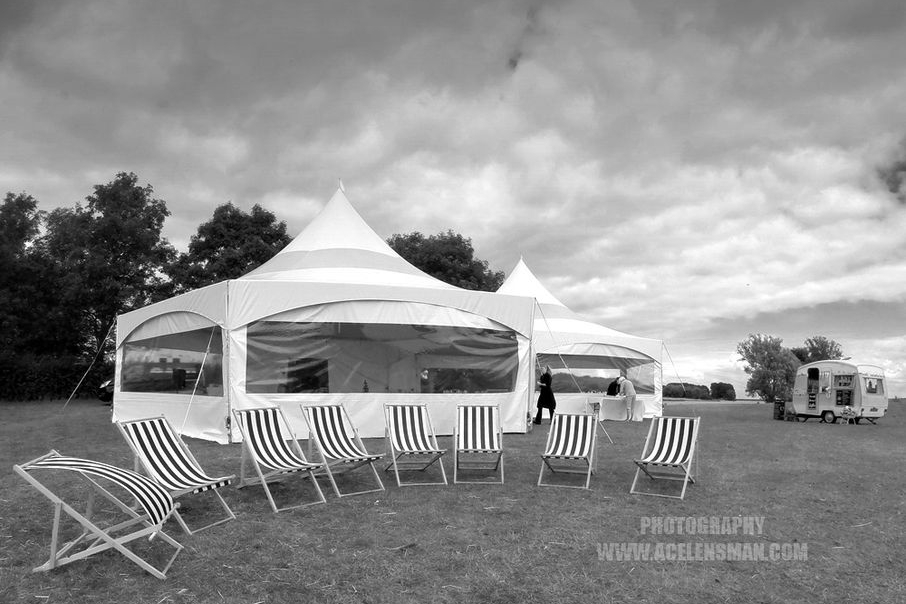 Two  Hex marquees linked for a bohemian wedding on the shores of Rutland Water