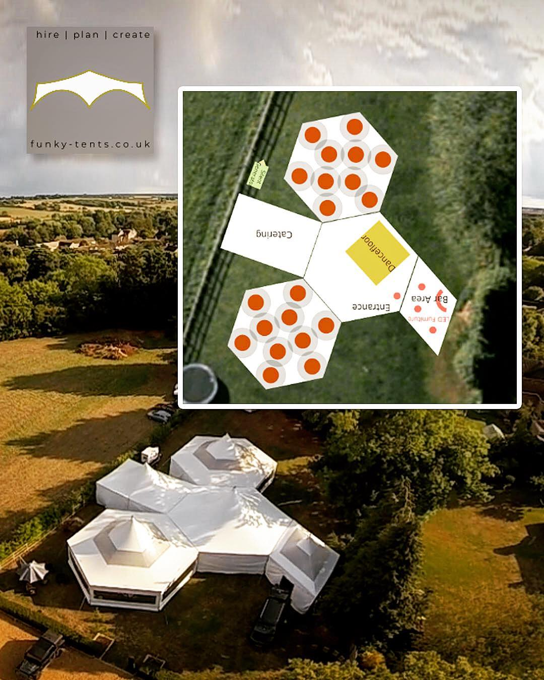 A selection of marquees huddles in a horseshoe shape to create an amazing wedding marquee with inner courtyard feel
