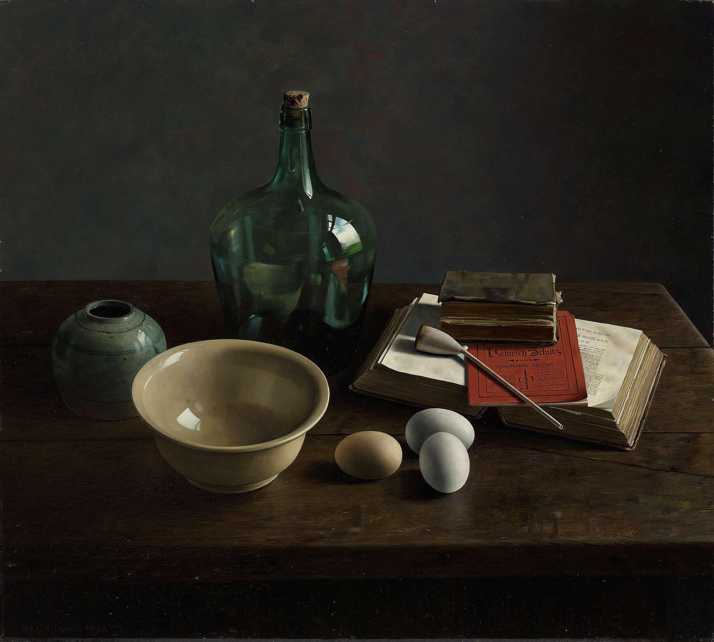 Hommage aan Heinrich Schutz door Henk Helmantel heeft prachtige lichteffecten - zie je het detail in de vaas, met de reflectie van de schilder?
