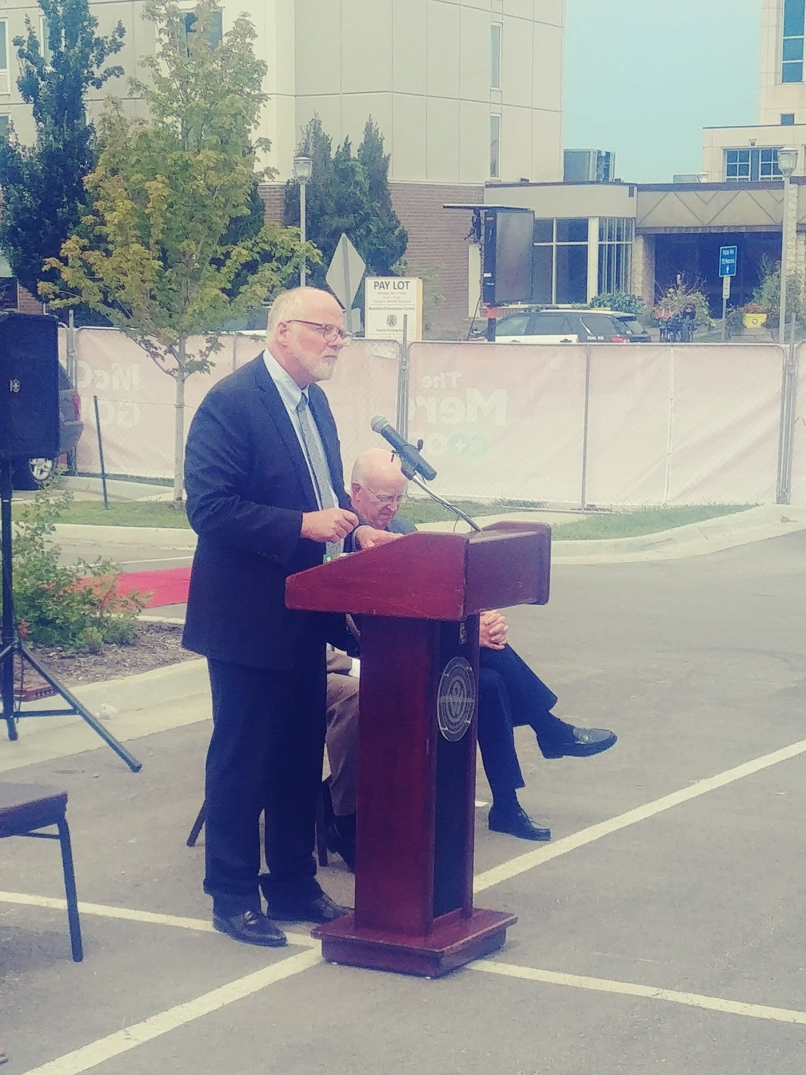 Mayor David Alvey speaks at the Downtown Grocery Store Groundbreaking, August 15, 2019