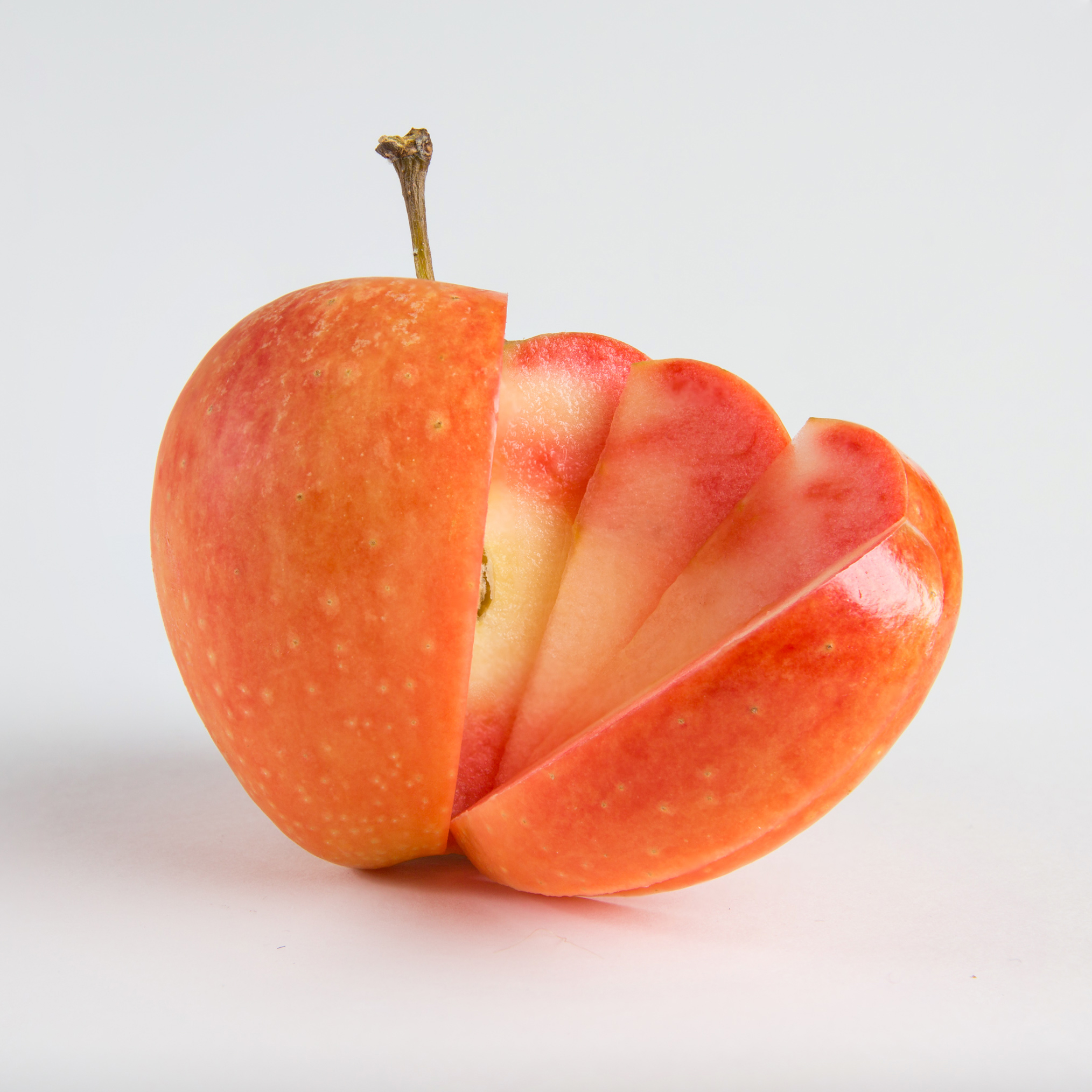 Sunburst , an orange-skinned pink-flesh apple with a deliciously tangy flavour