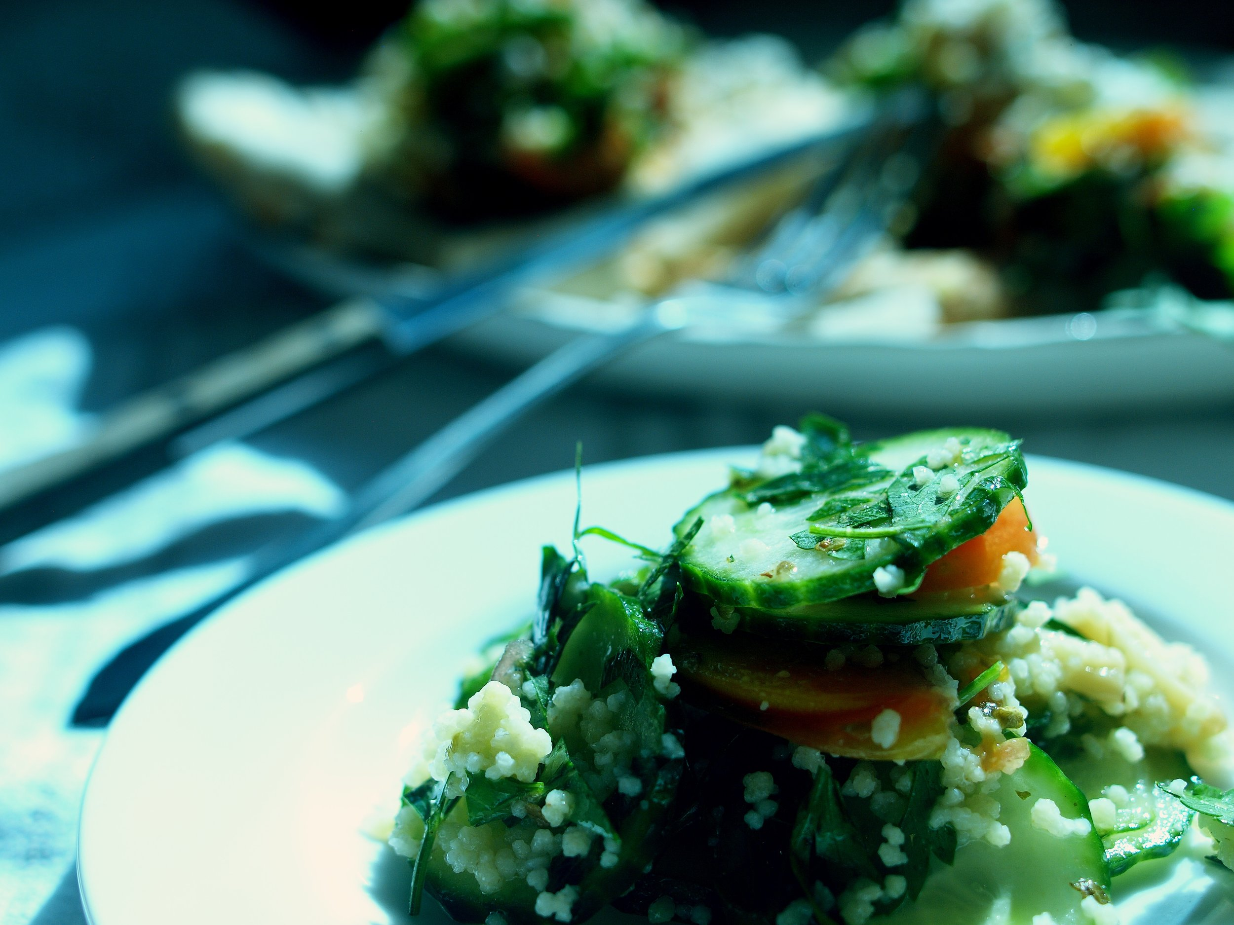 cucumber and cous cous salad with mint