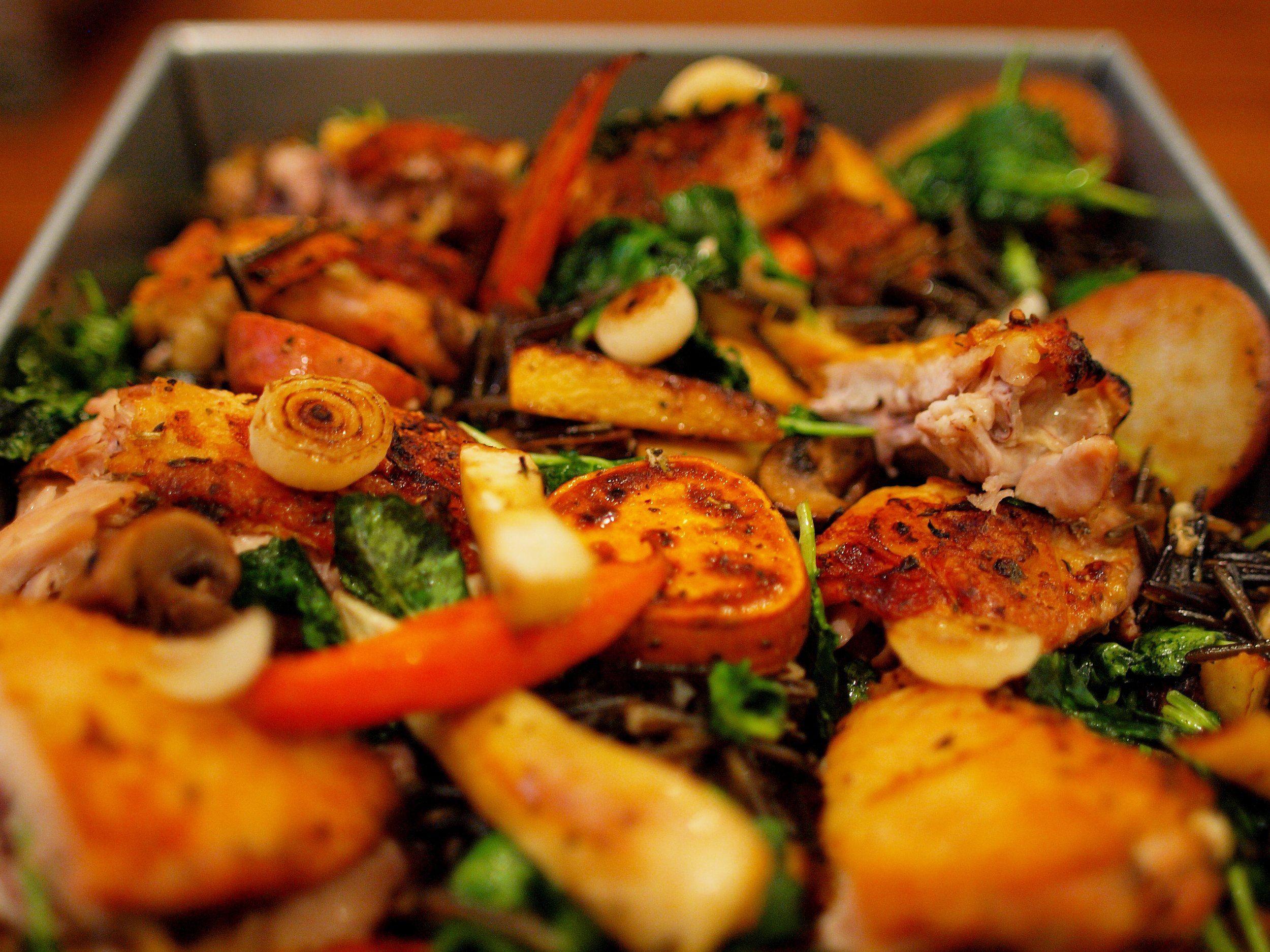 roasted farm hen thighs with root veg medley