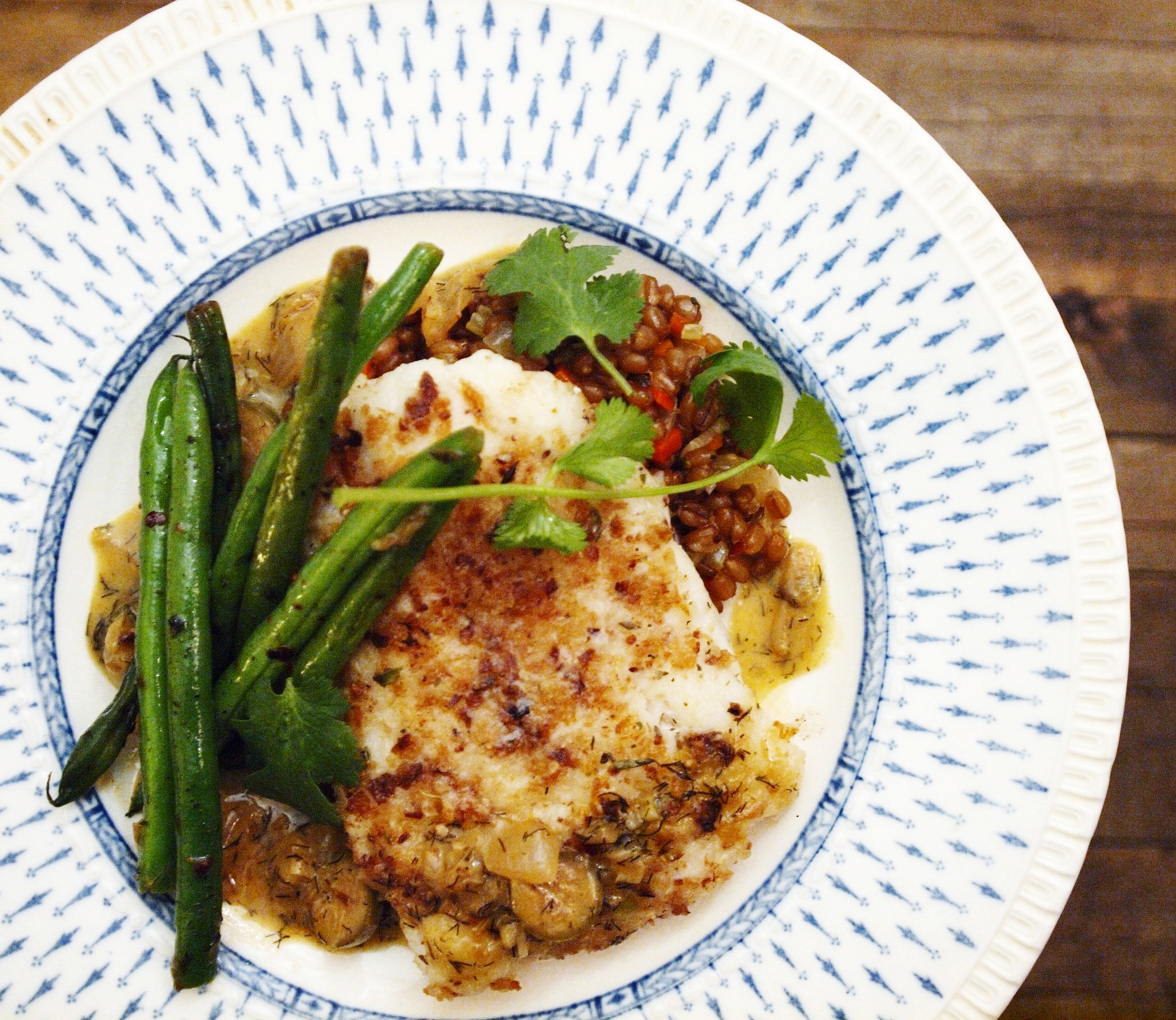 wild alaskan cod with buttered wheat berries, green beans and white wine caper sauce