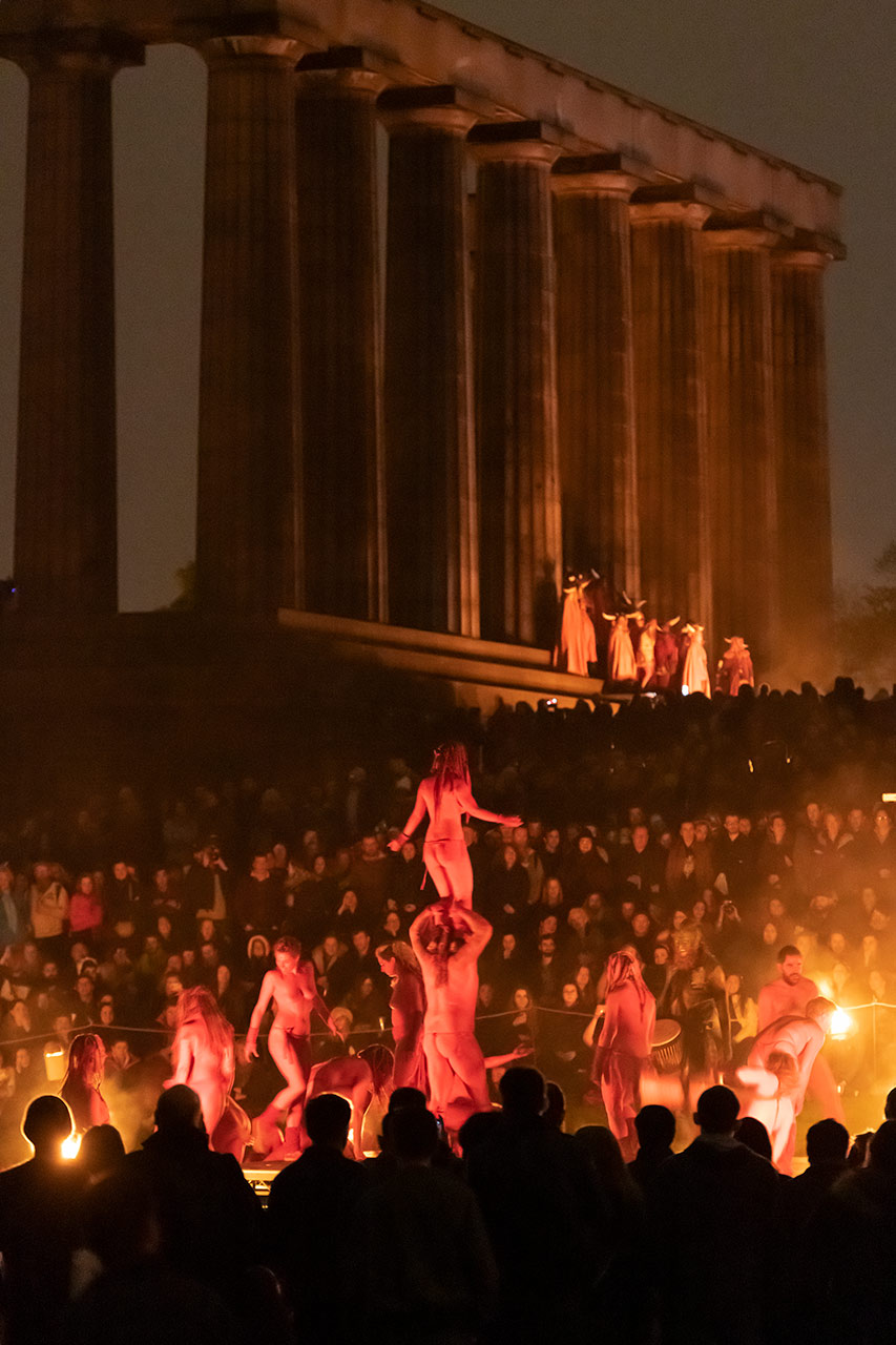 I love the overall theatre of this one showing the mass of people,the performers and the fantastic arena of Calton Hill