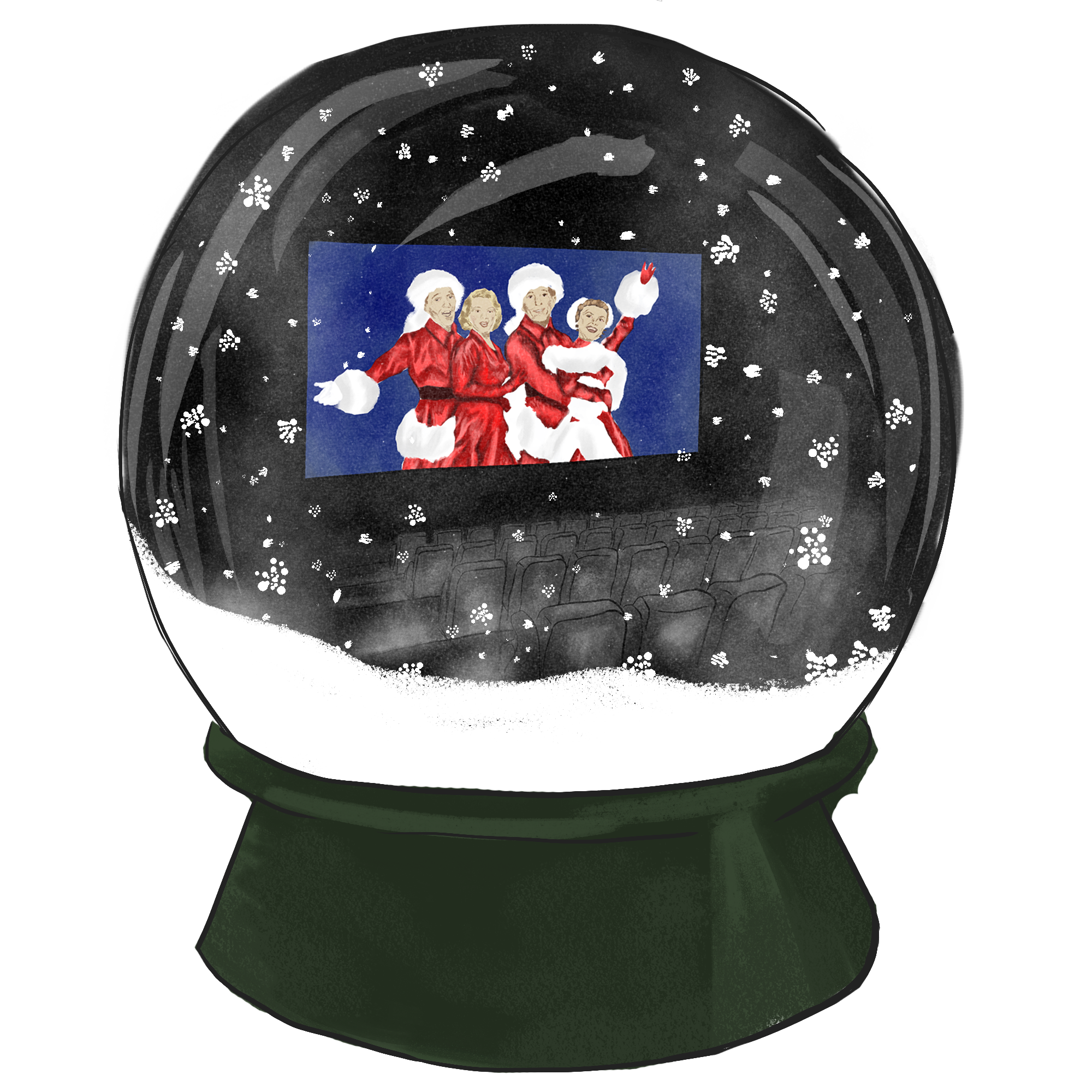 Snowglobe design for booklet cover.