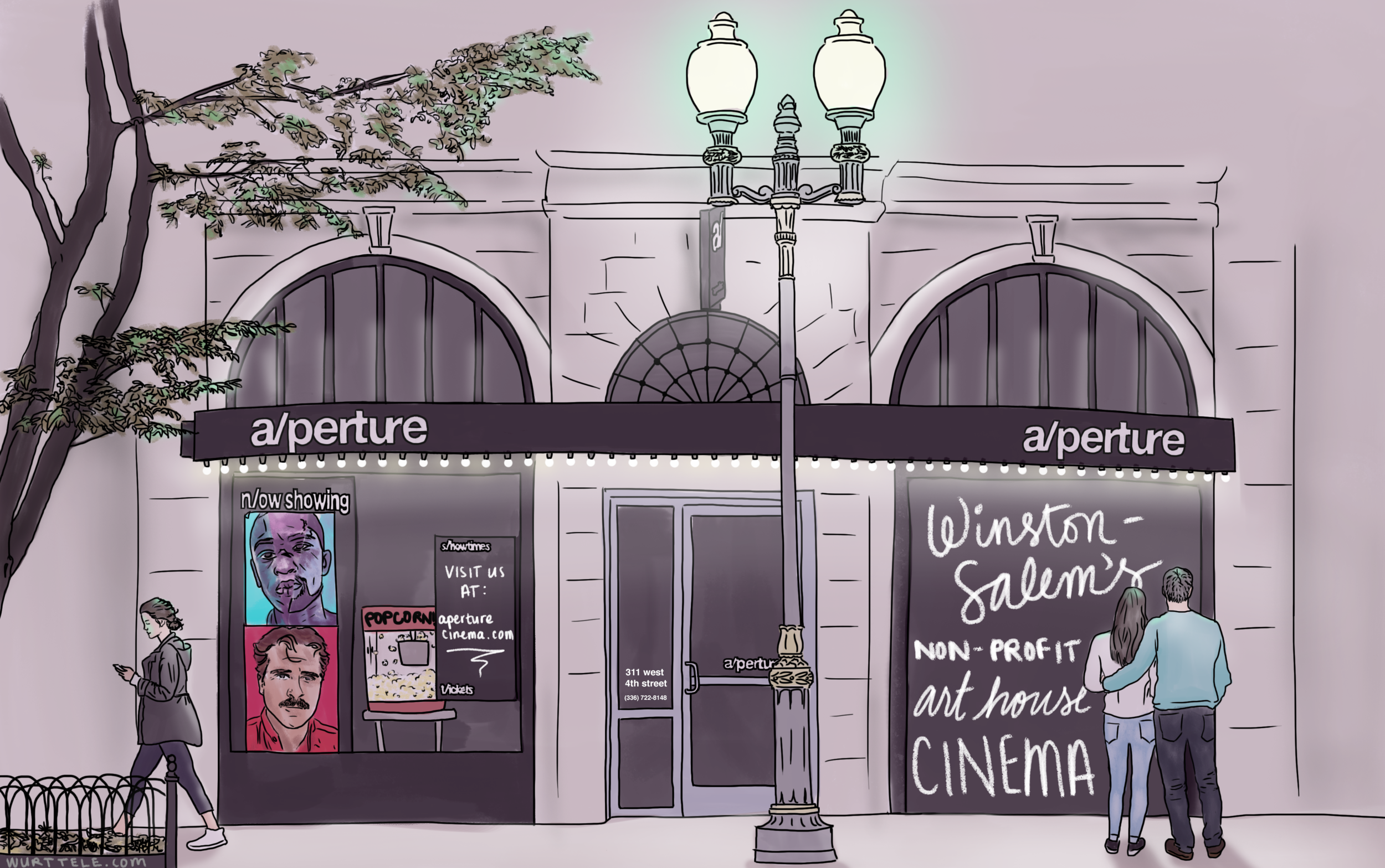 Storefront of a/perture cinema in the nighttime
