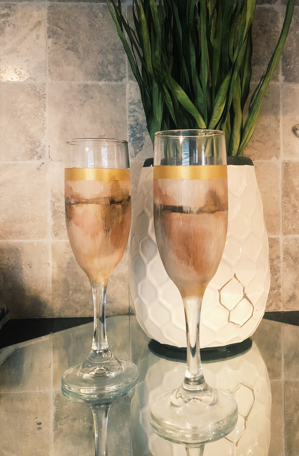 HAND PAINTED CHAMPAGNE FLUTES