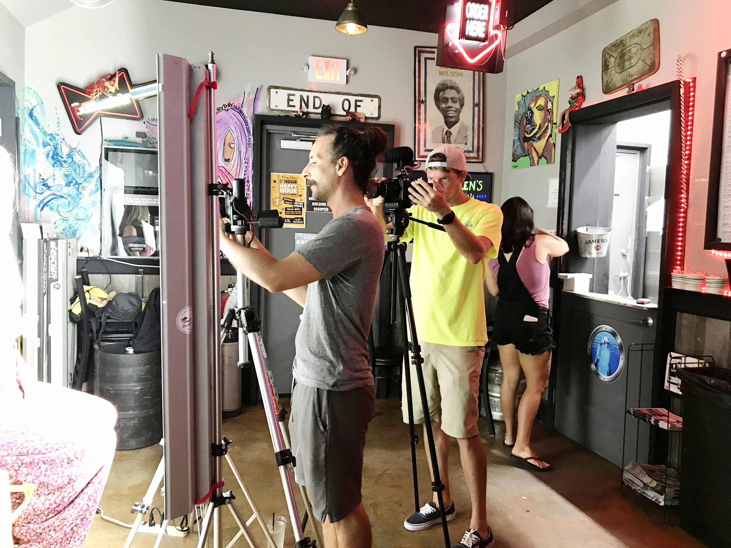 Tom Flip and Matthew Dockery shooting Heads Up Key West at Mary Ellens Bar.JPG