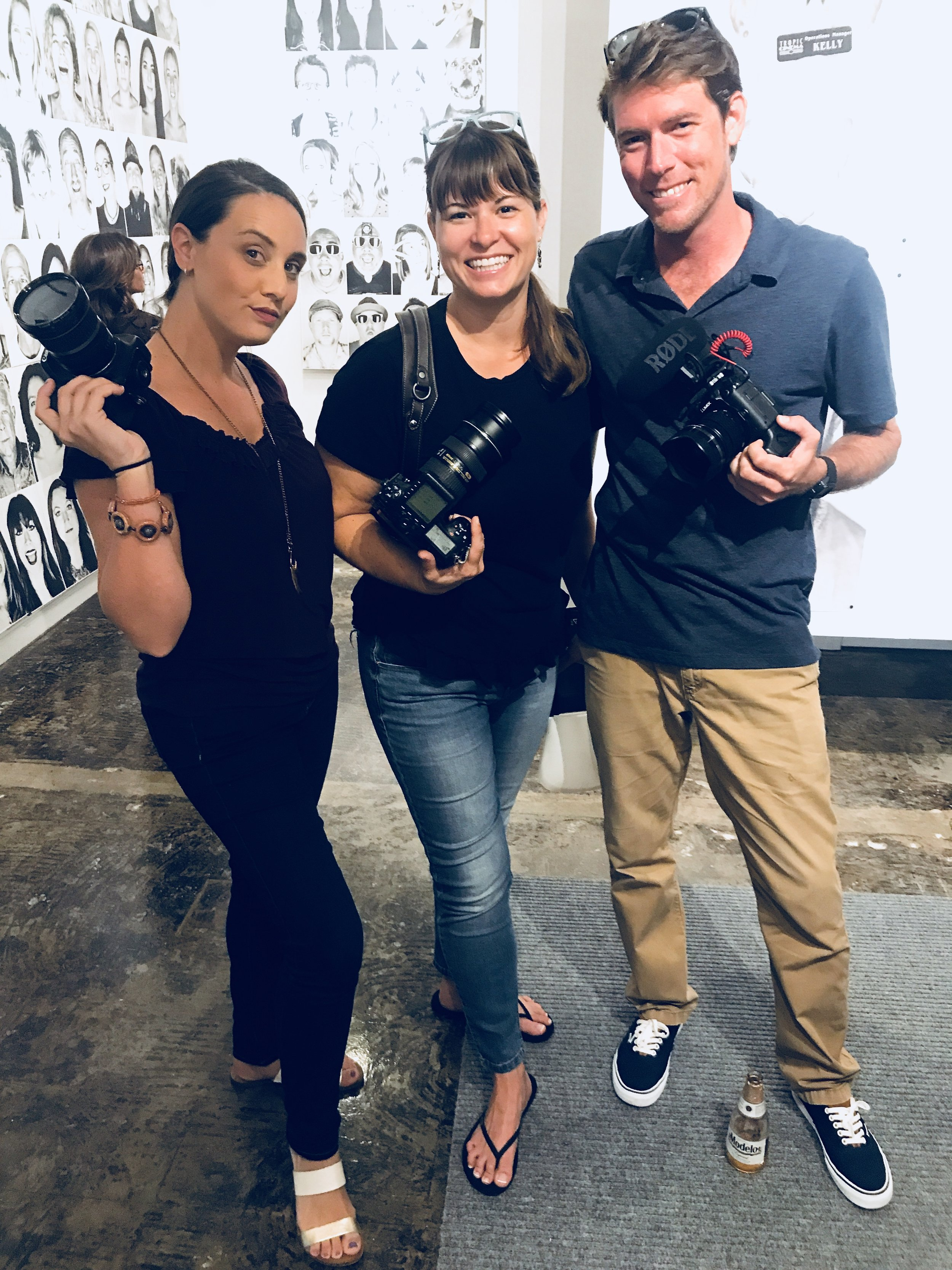 Me, my friend Rachel Ligon, and filmmaker Matthew Dockery, all showing our support at Tom Flip's Heads Up Key West Gallery Opening at The Studios of Key West