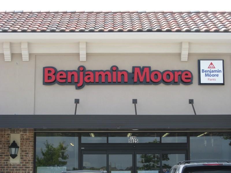 Benjamin Moore LED lit channel letter with back plate
