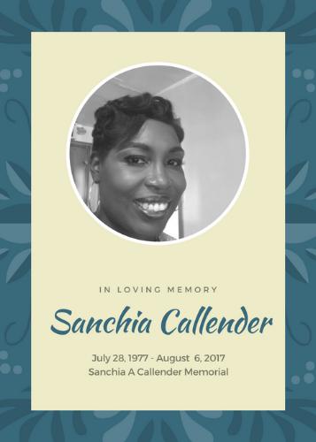 Sanchia Callender 1977-2017