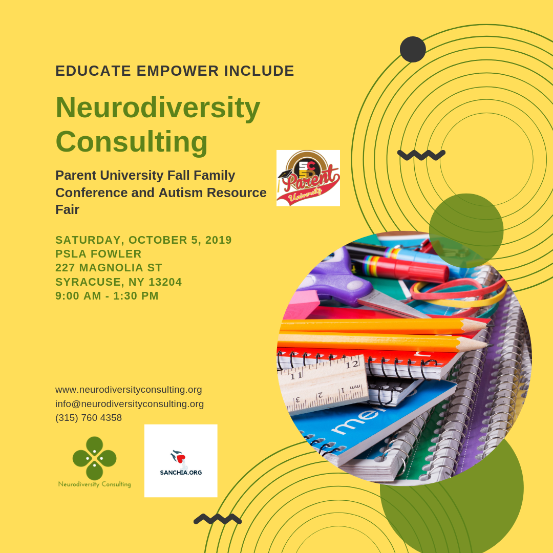 The fall autism resource fair will take place during Parent University's Fall Family Conference on Saturday, October 5, 2019.