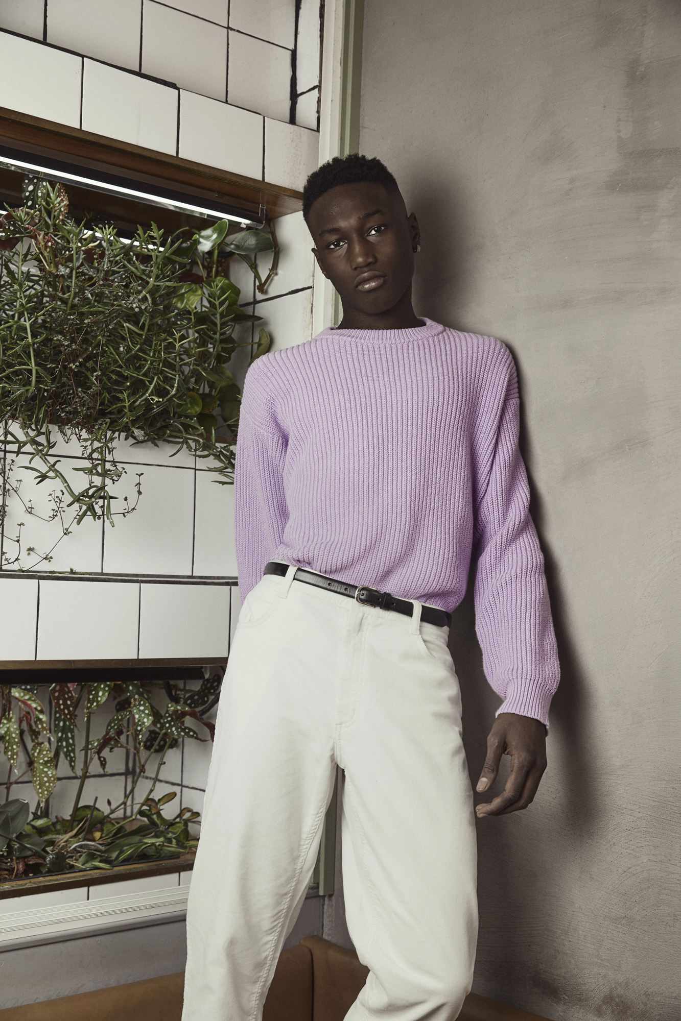 Riel Knit  and Rogelio Cord Pants with Slim Belt.