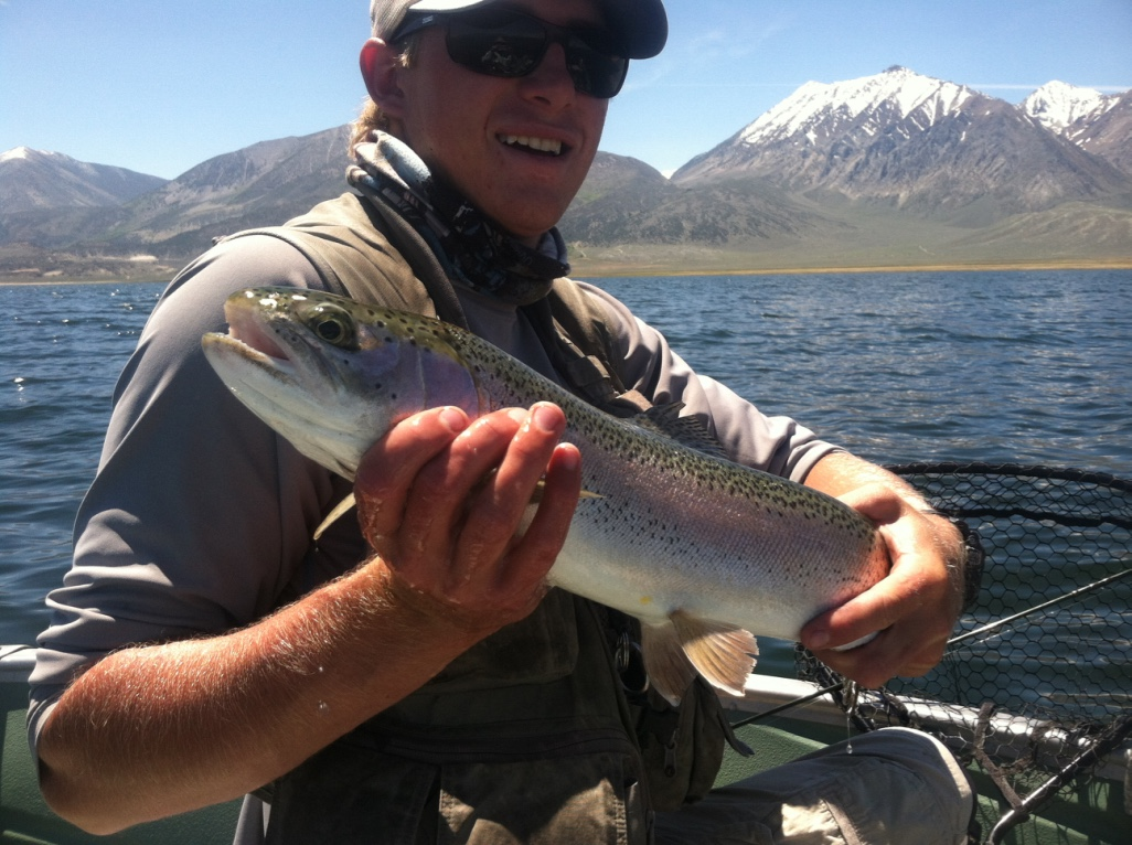 Wyoming fishing guide Ardie Wagoner holds a trophy rainbow trout he landed in McGee Bay while midge fishing in late May.