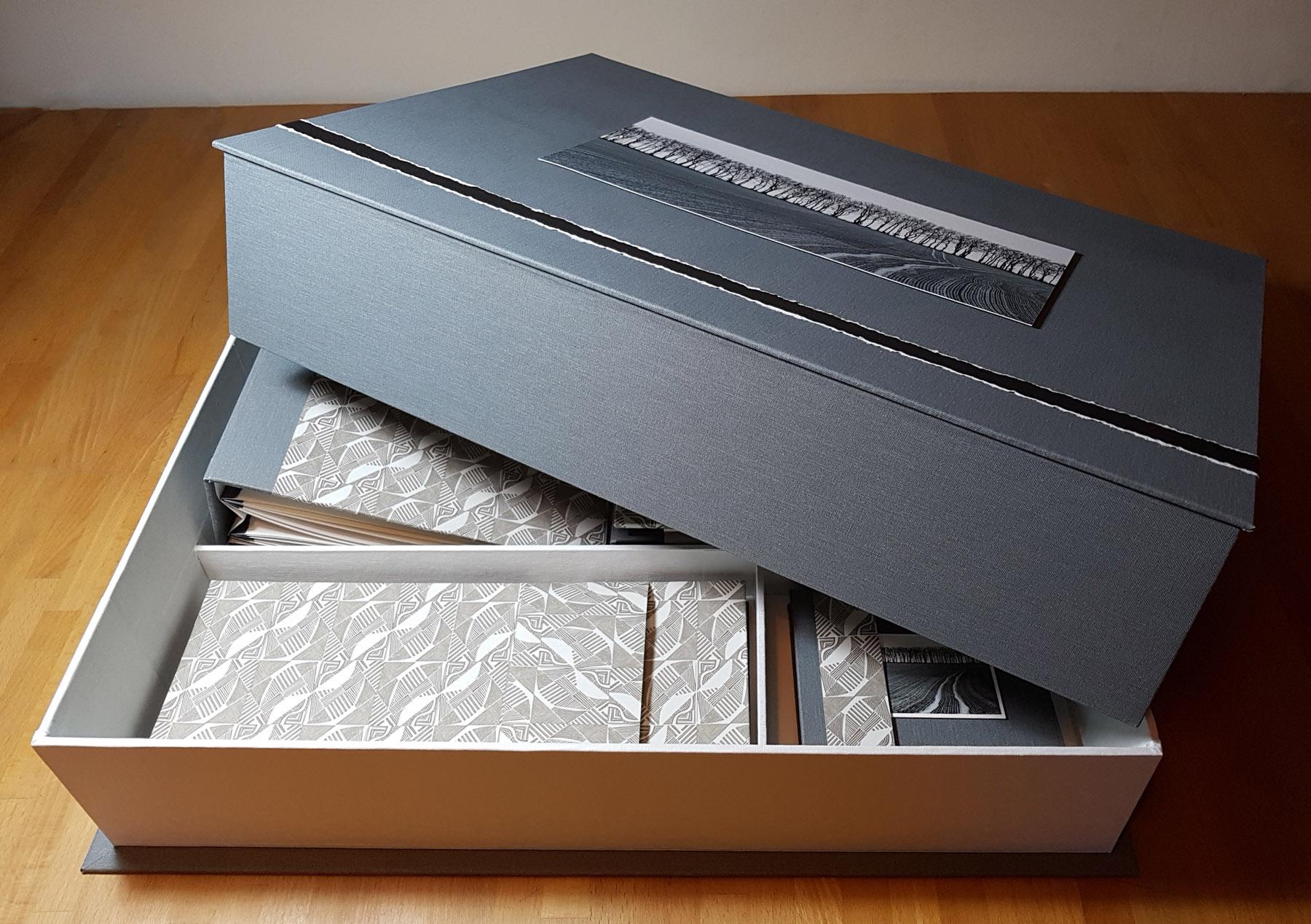 Land Lines triptych custom made presentation box