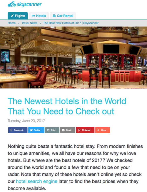 The Newest Hotels in the World to Check out SKY SCANNER