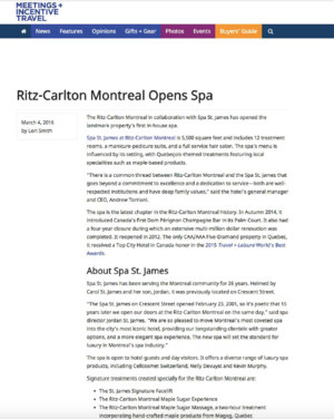 Ritz-Carlton Montreal Opens Spa MEETINGS + INCENTIVE TRAVEL