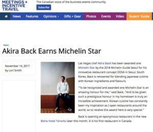 Akira Back Earns Michelin Star MEETINGS + INCENTIVE TRAVEL