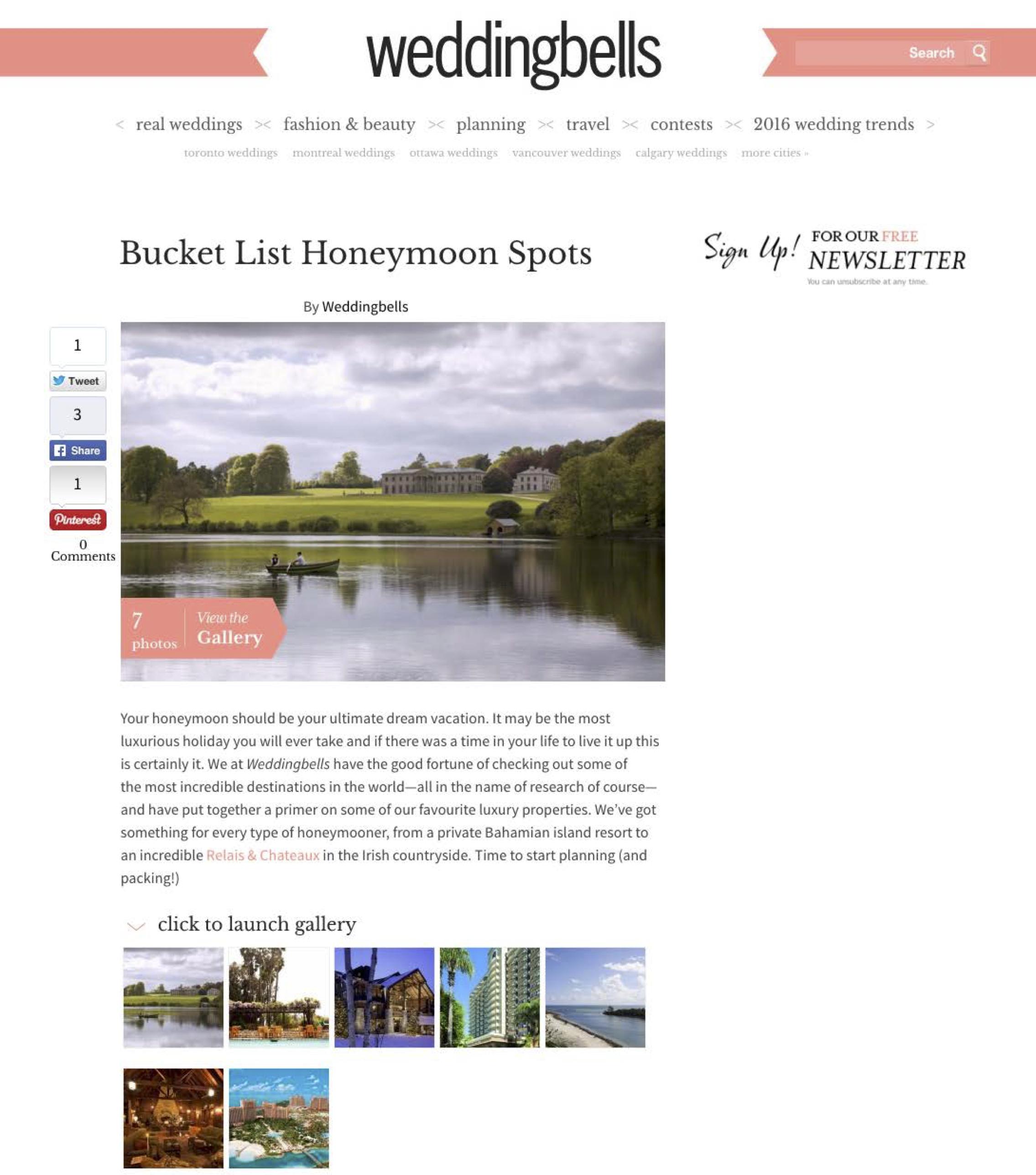 Bucket List Honeymoon Spots WEDDING BELLS