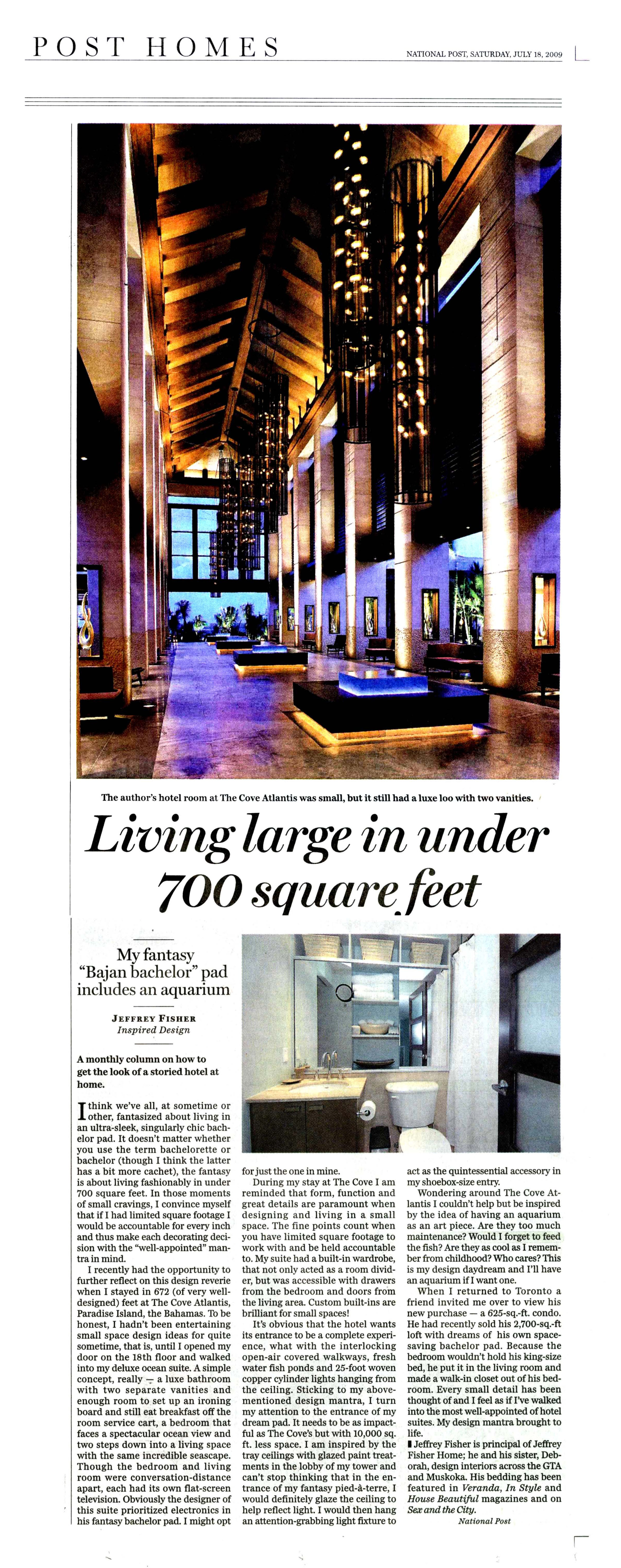 Living large in under 700 square feet NATIONAL POST