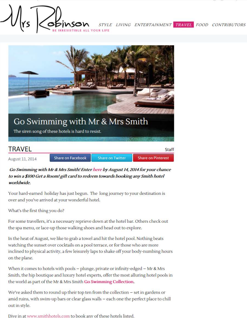 Go Swimming with Mr & Mrs Smith MRS ROBINSON