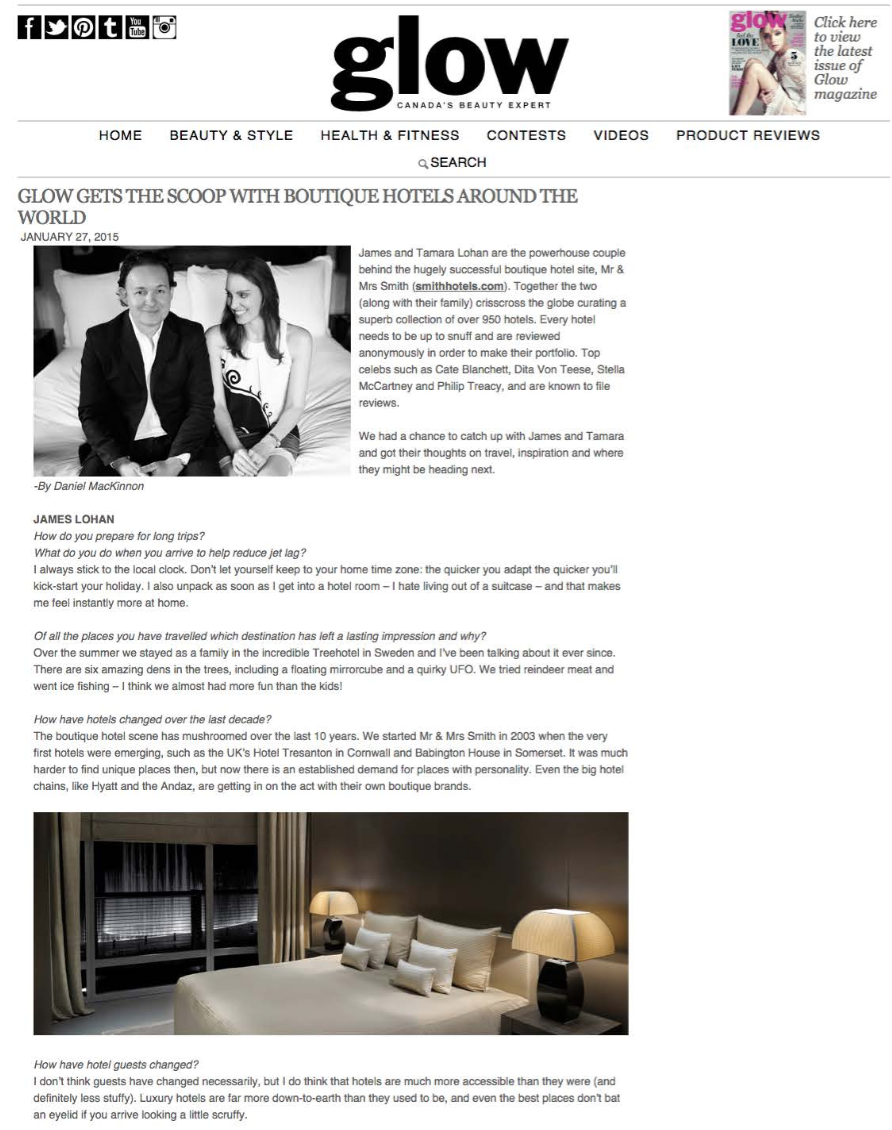 Glow gets the scoop with boutique hotels around the world GLOW