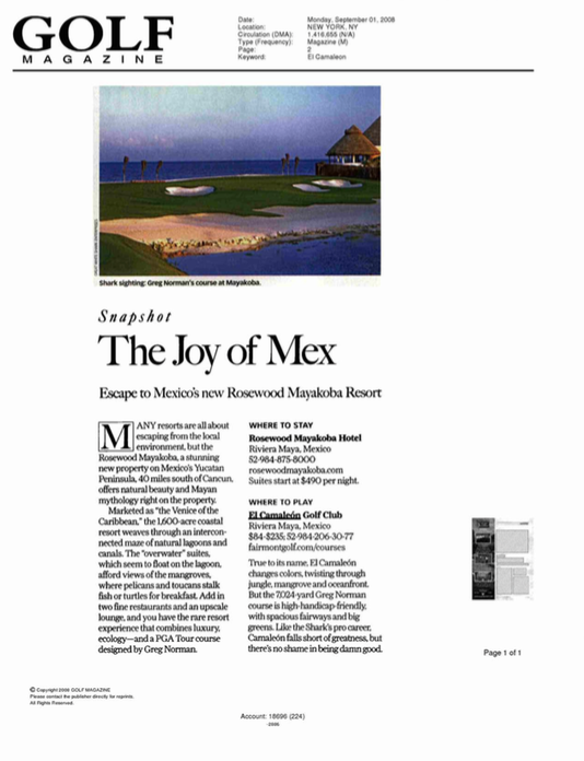 The Joy of Mex GOLF MAGAZINE
