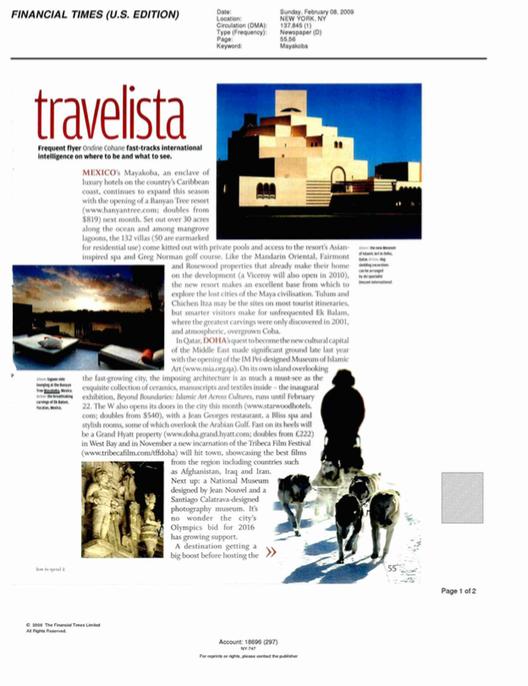 Travelista FINANCIAL TIMES