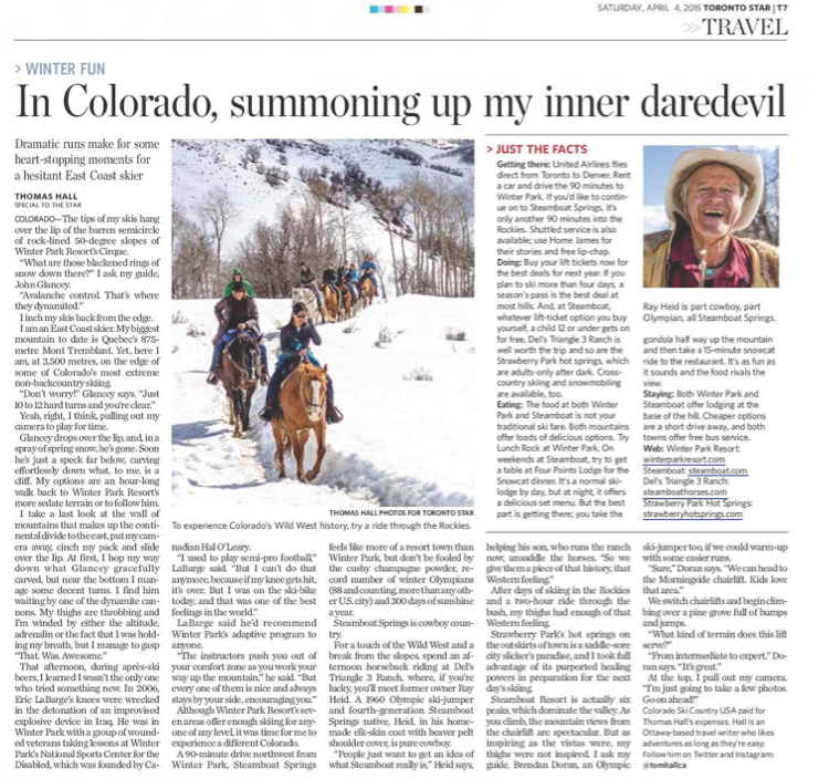In Colorado, summoning up my inner daredevil<br>TORONTO STAR