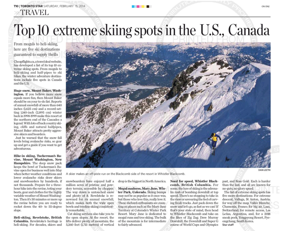 Top 10 extreme skiing sports in the U.S.<br>TORONTO STAR