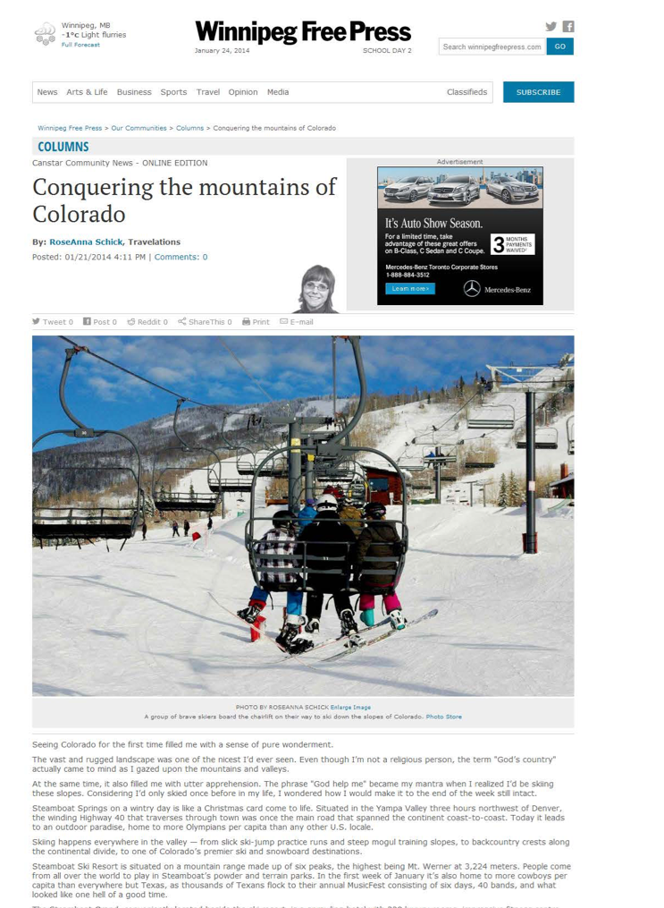 Conquering the mountains of Colorado<br>WINNIPEG FREE PRESS