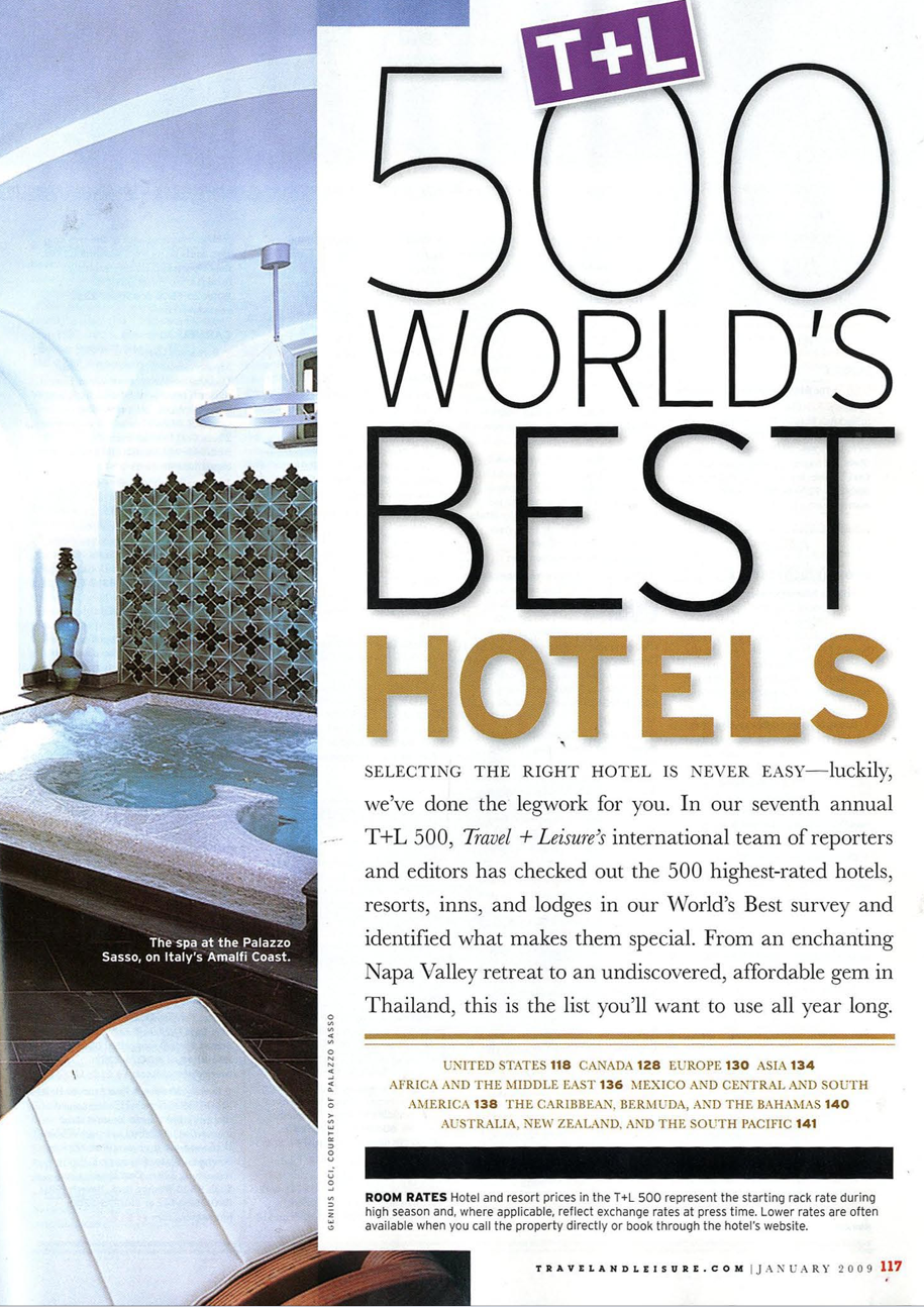 T&L 500 World's Best Hotels<br>TRAVEL + LEISURE