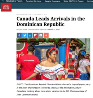 Canada Leads Arrivals in the DR<br>TRAVEL PULSE